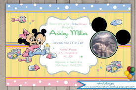 baby mickey and minnie mouse ultrasound baby shower invitation