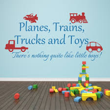 Boys Nursery Wall Decals Playroom Decal Planes Trains Trucks And Toys Boy Wall Sticker