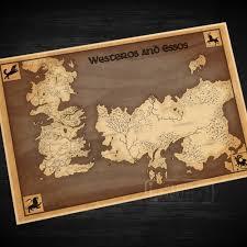 Map Westeros Map Of Westeros And Essos Classic Vintage Retro Kraft Decorative