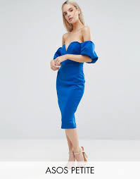 asos petite scuba puff sleeve bardot midi dress blue products