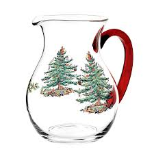 amazon com spode christmas tree glass pitcher with red handle