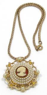 cameo antique necklace images Vintage celluloid cameo necklace with faux seed pearls jpg
