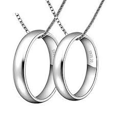 Engravable Rings Sterling Silver Personalized Engravable Rings Couple Necklace