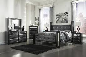 Ashley Furniture Recamaras by Ashley Alamadyre Queen Upholstered Poster Bedroom Set In Black