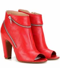 rs361022 red peep toe ankle boots maison margiela women u0027s shoes