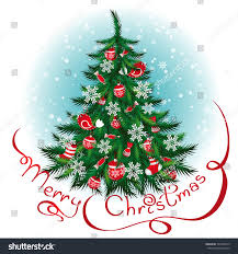 decorated christmas tree new year background stock vector
