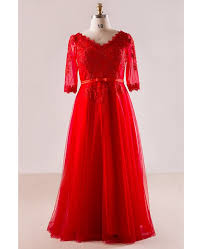 plus size red lace and tulle long formal occasion dress with half