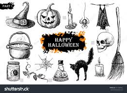 vintage halloween illustration vector hand drawn halloween set vintage stock vector 311340962