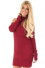 maroon sweater dress crimson cold shoulder knit sleeve sweater dress lime