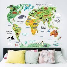 wall stickers decor australia ebay australia removable animal world map wall decal art download