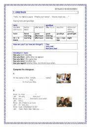 greetings worksheet for beginners