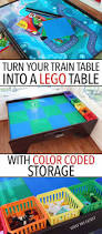 turn your train table into a lego table with color coded storage
