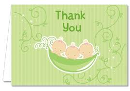 thank you card for baby shower baby shower thank you cards triplets three peas in a pod