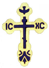 religious lapel pins 004867 st xenia cross lapel pin gold tone with blue inlay