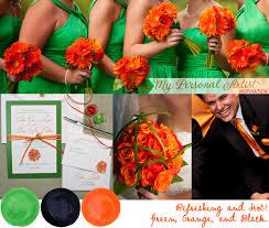 unique wedding colors green orange and black wedding color inspiration watercolor