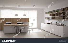 Minimalistic Interior Design Scandinavian White Kitchen Minimalistic Interior Design Stock