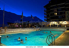 Pool At Night Outdoor Swimming Pool Mountains Stock Photos U0026 Outdoor Swimming