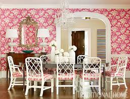 Floral Dining Room Chairs Pink Dining Room Transitional Dining Room Traditional Home