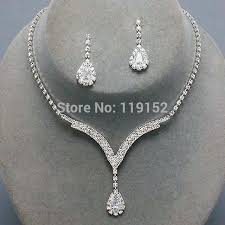 silver bridal necklace images Crystal tennis necklace set clear silver bridal bridesmaid jpg