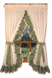 Lace Trim Curtains Madelyn Country Ruffled Curtains Collection With Colored Ruffle