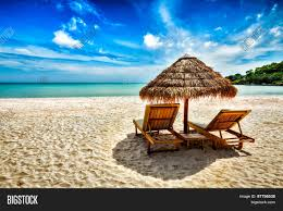 Two Beach Chairs Vacation Holidays Background Wallpaper Two Beach Lounge Chairs
