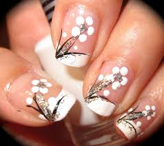 16 french nail flower designs side french manicure in floral nail