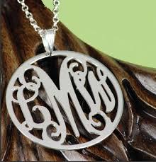 monogrammed silver necklace sterling silver large filigree rimmed monogram pendant