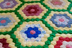 yellow and green grandmother u0027s flower garden quilt u2014 herkentucky