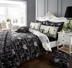 vintage black white paris eiffel tower bedding full queen duvet