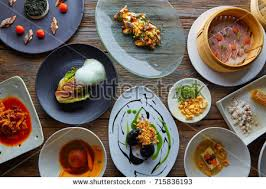 molecular gastronomy cuisine molecular gastronomy variety recipes modern cuisine stock photo