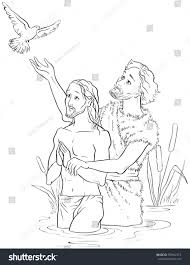 baptism jesus christ coloring page available stock vector