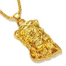 chunky chain pendant necklace images Hot gold color filled jesus piece pendant necklace for men women jpg