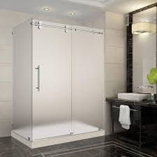 Satin Glass Shower Door by Stainless Steel Shower Stalls U0026 Kits Showers The Home Depot