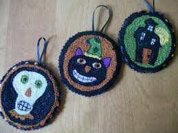 primitive punch needle ornaments set of three cat skull