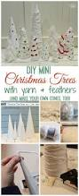 easy thrifty diy mini christmas trees with yarn and feathers