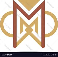 design element letter m triangle semicircle vector image