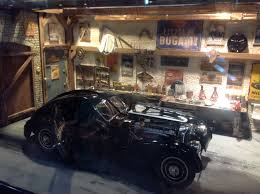 bugatti atlantic file cmc model diorama featuring garage containing bugatti t57