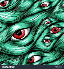 halloween scary background green scary fantasy pattern backgroundhair eyes eyes stock vector