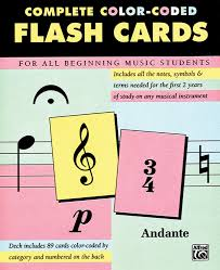 musical cards complete color coded flash cards for all beginning students