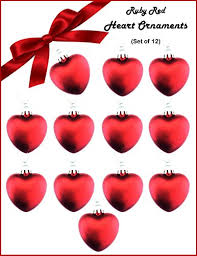 ruby shaped ornaments 12 pack set
