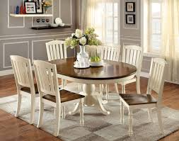 two tone dining table set 7 pc harrisburg collection country style oval round two tone