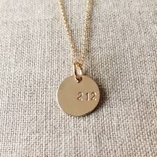 gold round necklace images Area code round necklace gold becoming jewelry hand stamped jpg
