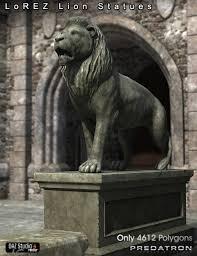 lion statues lorez lion statues 3d models and 3d software by daz 3d