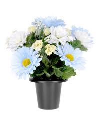 graveside flowers baby blue and white artificial flowers in grave vase homescapes