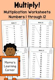 multiplication worksheets numbers 1 through 12 mamas learning