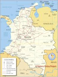 South America Map Capitals map of colombia nations online project