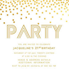 gold digital printable birthday invitation template 21st birthday