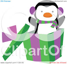cartoon of a cute penguin popping out of a christmas gift box