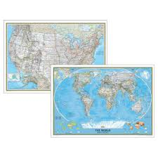 United States Map Poster by Poster Sized World And U S Combination Map Set Classic