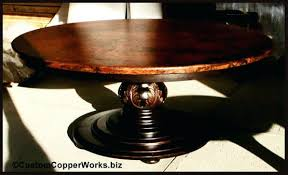 Copper Dining Room Tables by Round Copper Top Dining Table Wood Pedestal Base Hand Carved